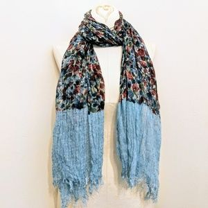 Accessories - Watercolor Floral Fringe Scarf